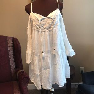 White cold shoulder boho dress